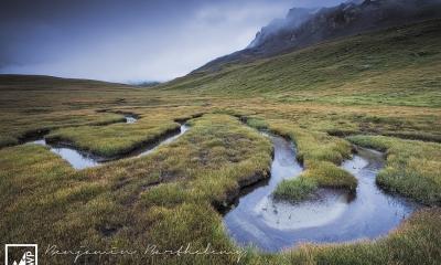 France Savoie Parc National de la Vanoise Plan du Lac Lanserlia Peak early morning under the rain Summer August