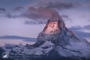 Banner cloud formation at sunrise at the top of the Matterhorn (4,478m), Valais,Switzerland, September 2017