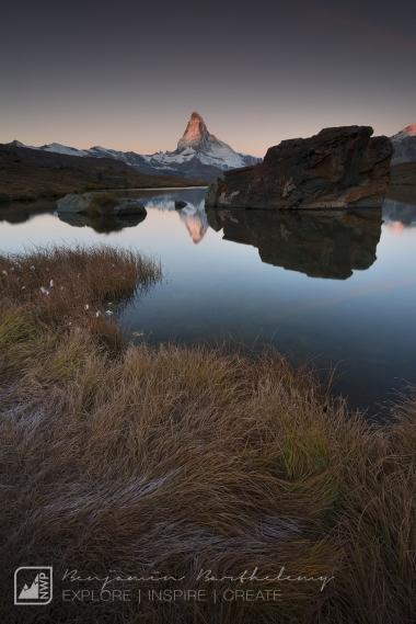 View of the Matterhorn (4,478m) at sunrise from Stelisee Lake, Switzerland, september 2017